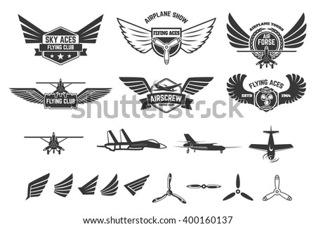 Set of flying club labels and emblems. Planes icons. Avia club emblems. Airplane trips. Aviators club logo. Design elements in vector. - stock vector