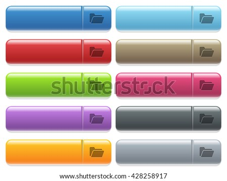 Set of folder open glossy color menu buttons with engraved icons - stock vector