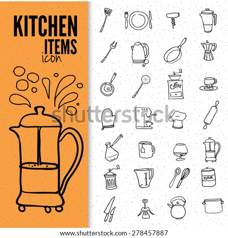 Set of food and drinks icons. Vector illustration of doodle kitchen items. - stock vector