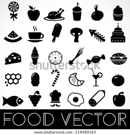 set of food black silhouettes, vector on grey and white background - stock vector