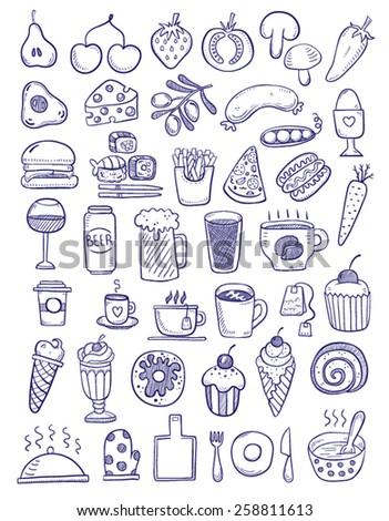 Set of food doodles - stock vector