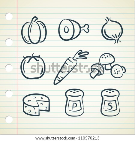 set of food icon in doodle style - stock vector