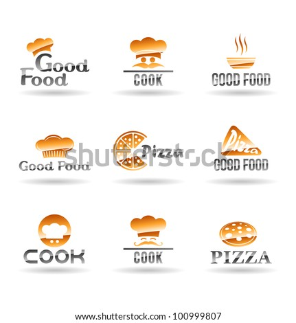 Set of food icons. Design elements for cafe and restaurant. - stock vector