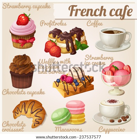 Set of food icons. French cafe. Chocolate cupcake, profitroles, cup of coffee, cappuccino, Viennese waffles, chocolate croissant, macaroons, strawberry ice cream - stock vector