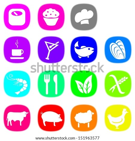Set of food icons in nice bright colors. This is a vectorial image, can be resized without loss of quality. - stock vector