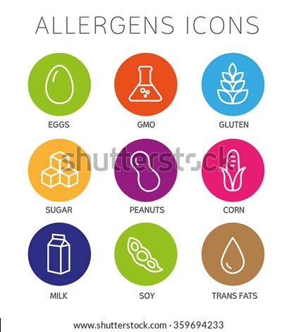 Set of food labels - allergens, GMO free products. - stock vector