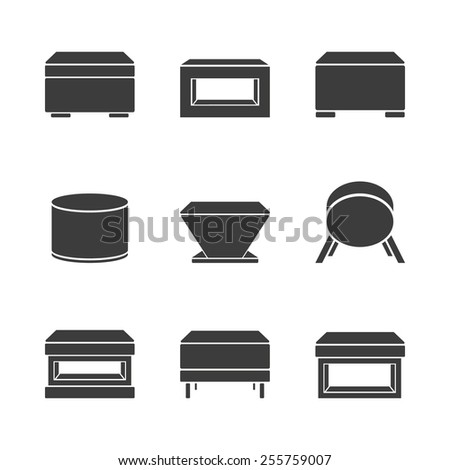 Set of foot stools on a white background. Vector - stock vector