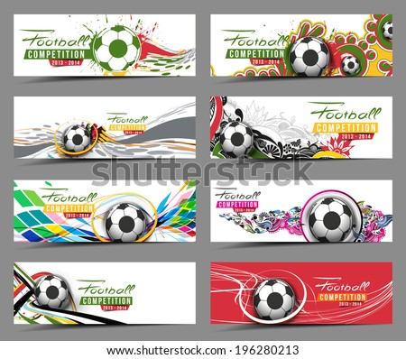 Set of Football Event Banner Header Ad Template Design.  - stock vector
