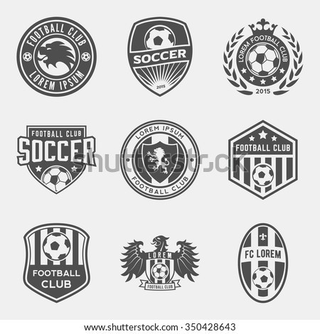 set of football (soccer) crests and logos. vector illustration - stock vector