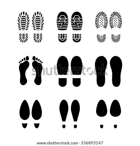 Set of footprints and shoes, vector - stock vector