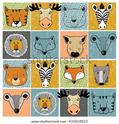 set of forest animals/tiger,elk,bear,zebra,lion,fox,wild boar,mouse,wolf/hand drawn vector illustration/can be used for kid's/baby's shirt design/fashion print design/fashion graphic/t-shirt/tee - stock vector