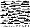 Set of 44 (forty four) silhouettes of sea yachts, towboat, battleship and ships - stock vector