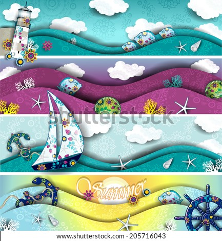Set of four banners landscape with boat and lighthouse in the midst of the sea decoration-transparency blending effects and gradient mesh-EPS 10. - stock vector