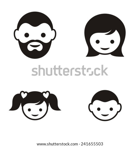 Set of four black family member face icons - stock vector