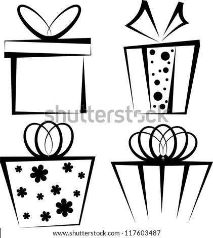 Set of four black gift boxes on white background - stock vector