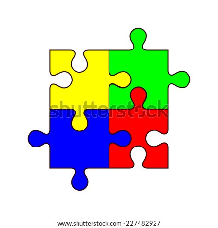 Set of four blank colorful jigsaw puzzle pieces. Group of yellow, blue, red and green color jig saw piece. vector art image illustration, isolated on white background - stock vector
