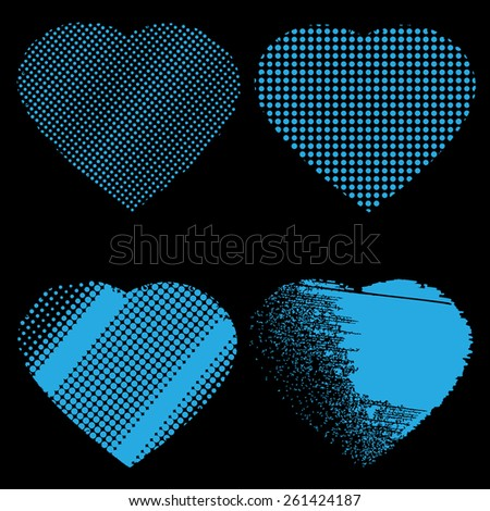 Set of four blue hearts, black background, stock vector illustration outbox - stock vector
