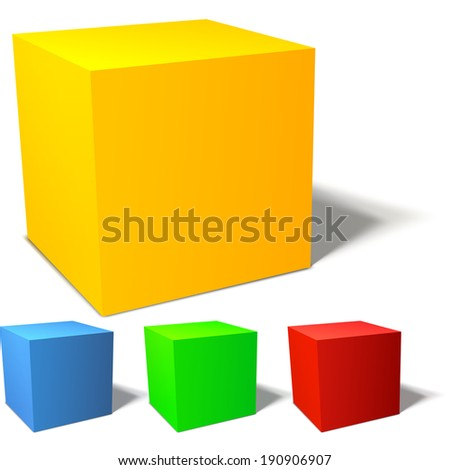 Set of four brignt colored cubes. Red, green, blue and yellow - stock vector
