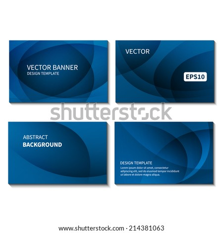 Set of four business cards design template. Business card vector banner design template. Corporate style design template. Vector illustration EPS10 - stock vector