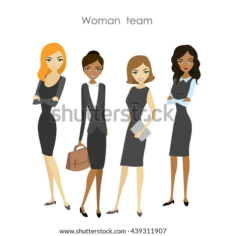 Set of four business woman, cartoon female team, vector illustration - stock vector