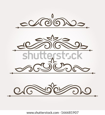 Set of four calligraphic floral design elements and page decoration. Vector illustration - stock vector