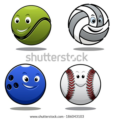 Set of four cartoon sports balls logo including a tennis ball, volley ball, cricket ball and bowls with smiling happy faces - stock vector