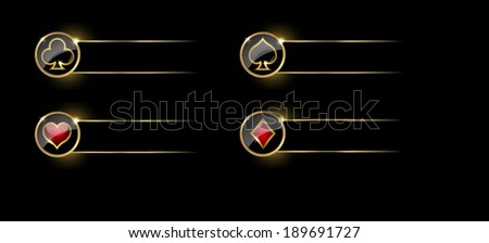 Set of four casino themed navigation panels on black background. Spades, diamonds, hearts and clubs signs on round button. Vector illustration. - stock vector
