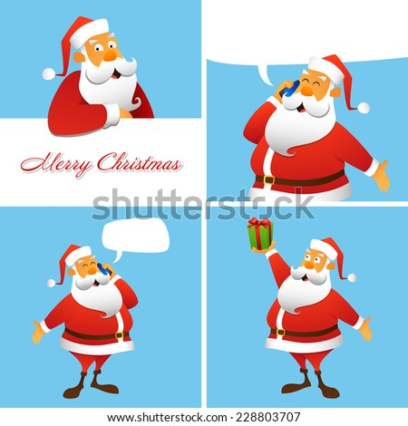 Set of four Christmas and New Year greeting cards. - stock vector