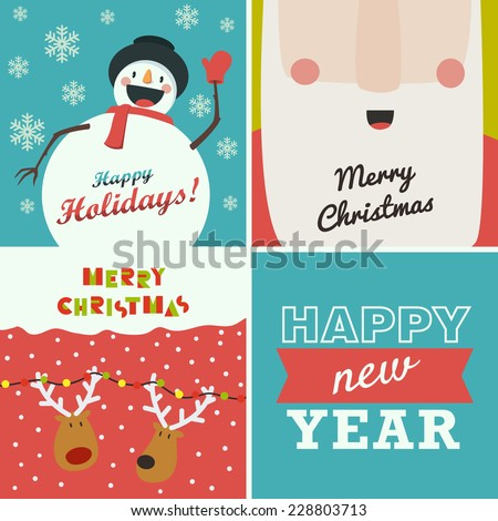 "Set of four Christmas and New Year greeting cards. Santa Claus, funny snowman, deer on winter background and the words ""Happy New Year"" - stock vector"