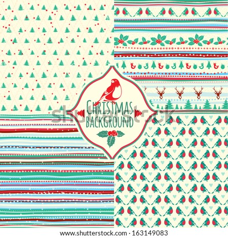 Set of four Christmas patterns - stock vector