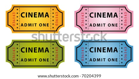 set of four color cinema tickets - stock vector