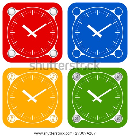 Set of four colored flat simple frames and watches - stock vector