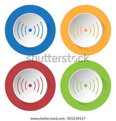 set of four colored icons - sound or vibration symbol - stock vector