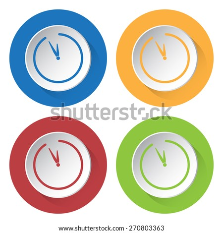 set of four colored icons with clock and stylized shadows - stock vector
