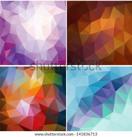 Set of four colorful abstract geometric background with triangular polygons. Colorful mosaic of triangle - stock vector