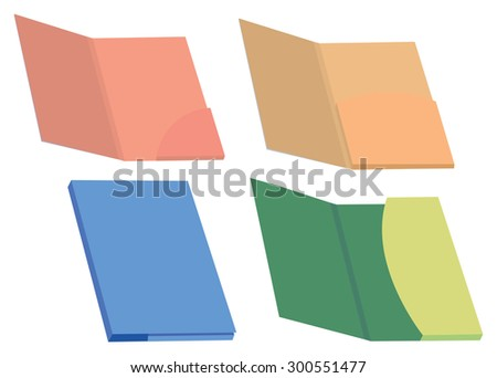 Set of four colorful blank file folder and presentation folders vector illustration isolated on white background. - stock vector