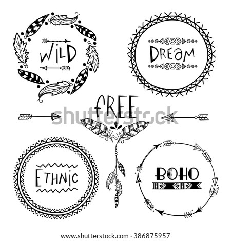 Set of four creative Boho style Frames mady by Ethnic Feathers, Arrows and Floral Elements with space for your text on grey background.  - stock vector
