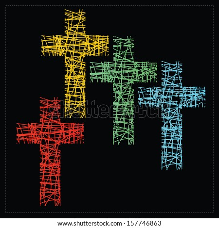 Set of four crosses. vector - stock vector