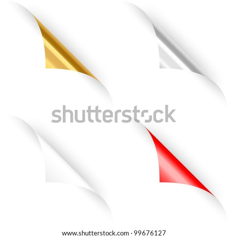 Set of four curled paper corners. Vector illustration - stock vector