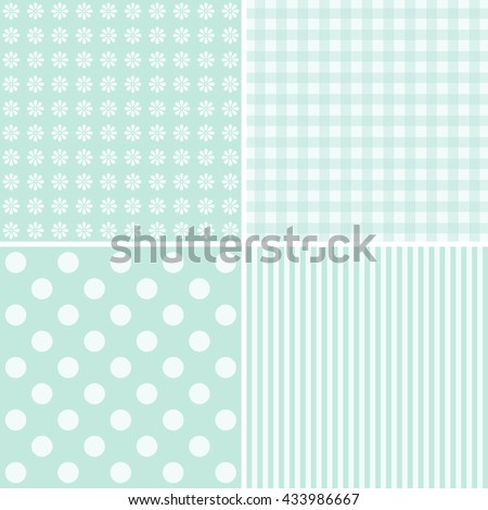 Set of four cute backgrounds in blue colors ideal for baby shower - stock vector