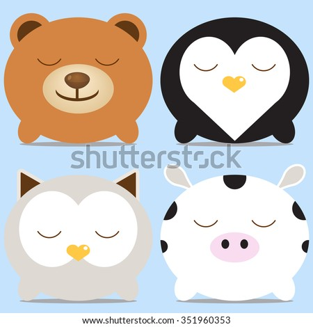 Set of four cute round animals - bear, penguin, owl and cow. Vector illustration. For menu, cards, invitations, wedding or baby shower albums, backgrounds, wallpapers, arts and scrapbooks. - stock vector