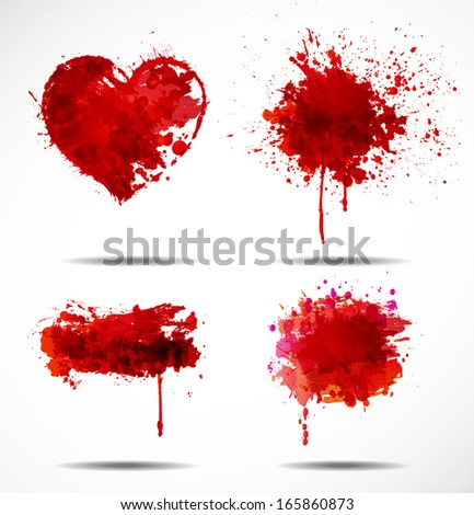 Set of four dark red grunge objects isolated on white. Vector illustration. - stock vector