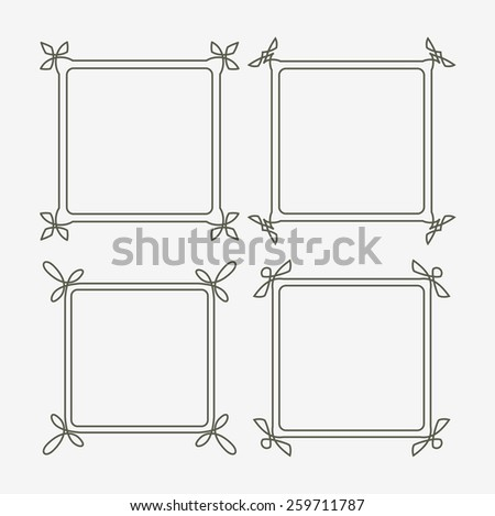 Set of four decorative frames with full editable stroke weight - stock vector