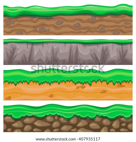 Set of four detailed rocky and sandy seamless grounds with grass for video game - stock vector