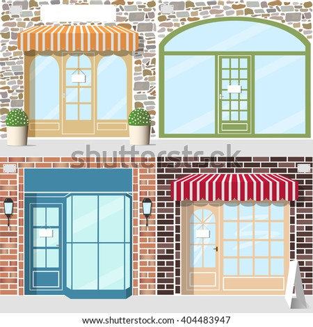 Set of four detailed shop entrance. Facade f stone and brick. Striped awnings, flowers in pots, lanterns.  - stock vector