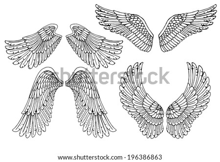 Set of four different vector angel wings in black and white outline in the open position for tattoo and use as design elements - stock vector