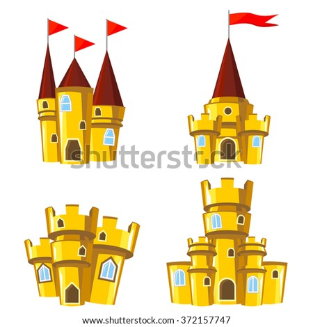 Set of four editable gold castles for game design - stock vector
