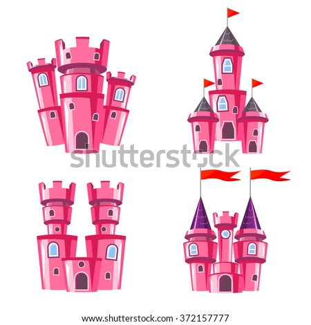 Set of four editable pink castles for game design - stock vector