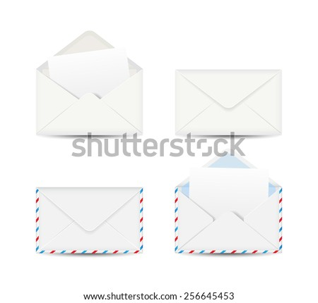 Set of four envelopes isolated on white background. Vector illustration. - stock vector