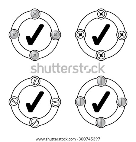Set of four flat frames and check box - stock vector
